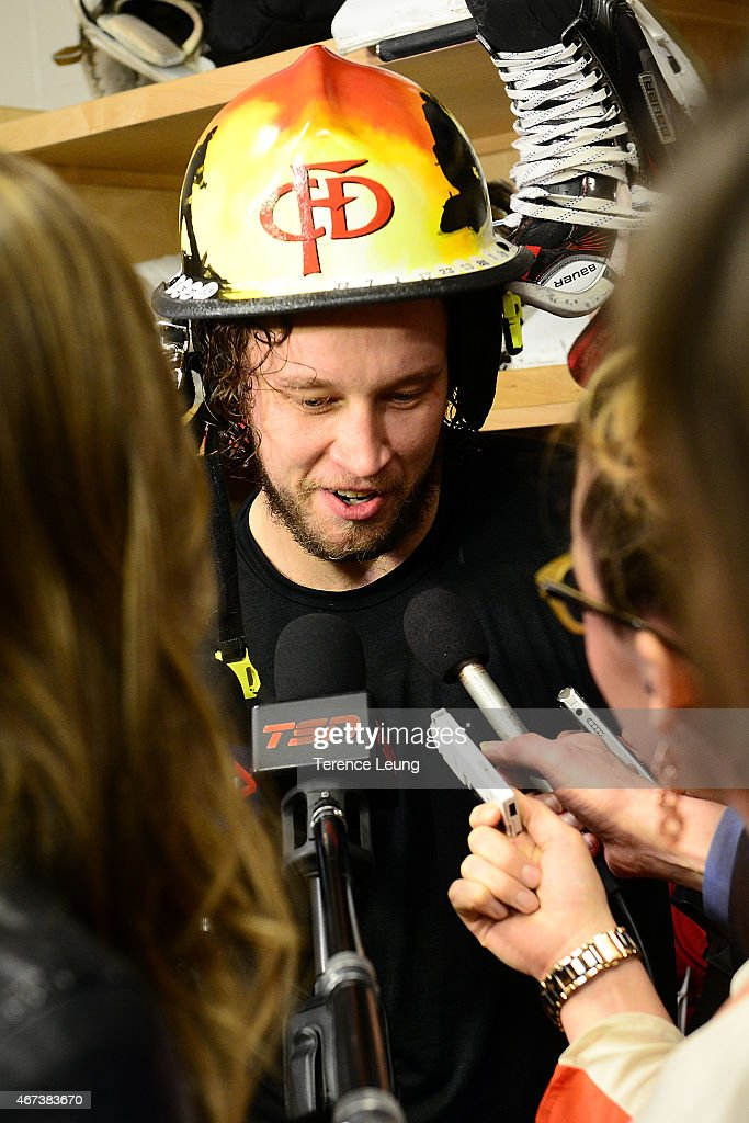Karri Ramo #31 of the Calgary Flames addresses the media after a win against the Colorado Avalanche at Scotiabank Saddledome on March 23, 2015 in Calgary, Alberta, Canada.