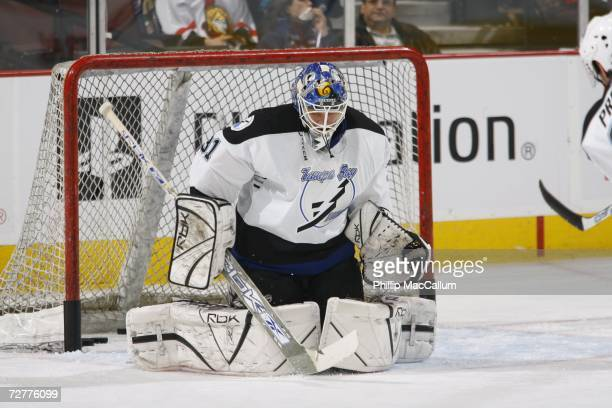 Karri Ramo of the Tampa Bay Lightning makes a save during warmup before a game against the Ottawa Senators on December 2 2006 at the Scotiabank Place...