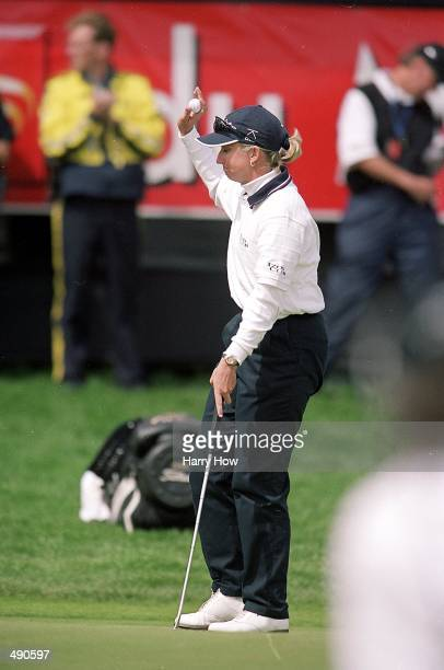 Karrie Webb celebrates after making her putt during the Du Maurier Classic at Priddis Greens Golf Course in Priddis, Alberta, Canada.