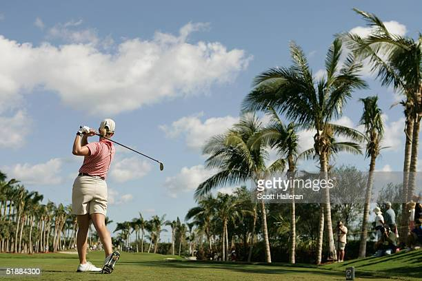 Karrie Webb hits a shot during the third round of ADT Championship at the Trump International Golf Club on November 20 2004 in West Palm Beach Florida
