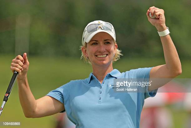 Karrie Webb of Australia celebrates her onestroke victory at the HSBC Women's Champions 2011 at the Tanah Merah Country Club on February 27 2011 in...