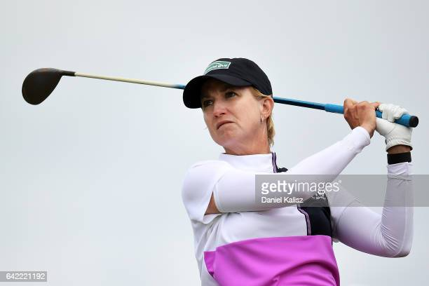 Karrie Webb of Australia drives during round two of the ISPS Handa Women's Australian Open at Royal Adelaide Golf Club on February 17 2017 in...