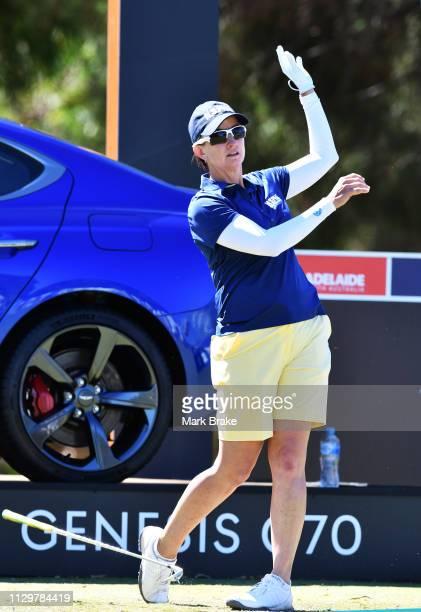 Karrie Webb of Australia drops her club as her ball heads ffor a bunker during day two of the 2019 ISPS Handa Women's Australian Open The Grange GC...
