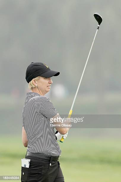 Karrie Webb of Australia follows her ball during the final round of the Reignwood LPGA Classic at Pine Valley Golf Club on October 6 2013 in Beijing...