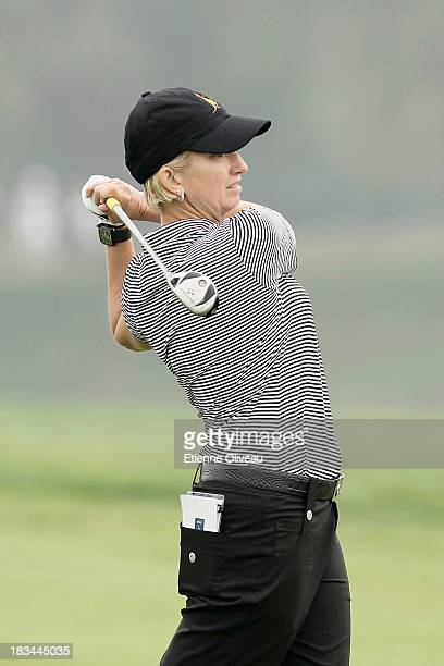 Karrie Webb of Australia hits a fairway shot during the final round of the Reignwood LPGA Classic at Pine Valley Golf Club on October 6 2013 in...