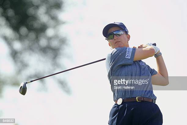 Karrie Webb of Australia hits a shot during the final round of the Tyco/ADT Championship at Trump International GC in West Palm Beach Florida Credit...