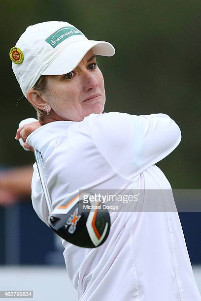Karrie Webb of Australia hits a tee shot on the 11th hole during day one of the LPGA Australian Open at Royal Melbourne Golf Course on February 19...
