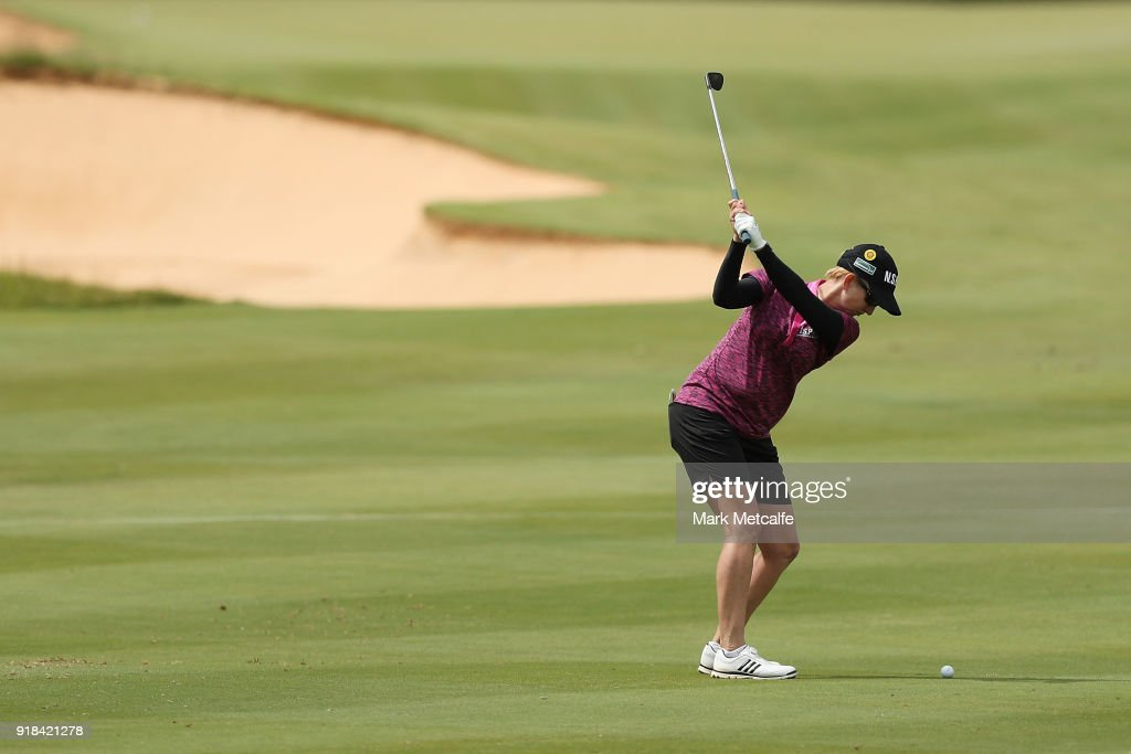 Karrie Webb of Australia hits an approach shot during day one of the ISPS Handa Australian Women's Open at Kooyonga Golf Club on February 15, 2018 in Adelaide, Australia.