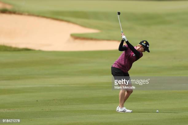 Karrie Webb of Australia hits an approach shot during day one of the ISPS Handa Australian Women's Open at Kooyonga Golf Club on February 15 2018 in...
