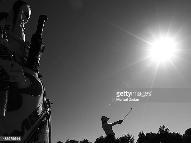 This image has been converted to balck and white Karrie Webb of Australia hits an approach shot on the 11th hole during day three of the LPGA...