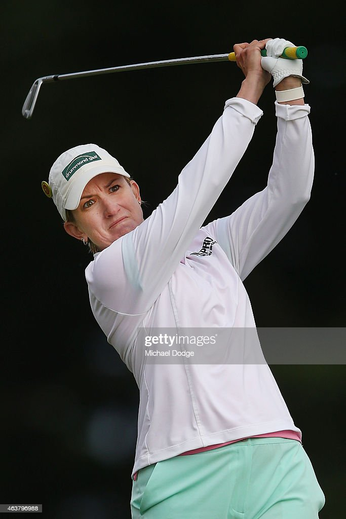 Karrie Webb of Australia hits an approach shot on the 12th hole during day one of the LPGA Australian Open at Royal Melbourne Golf Course on February 19, 2015 in Melbourne, Australia.
