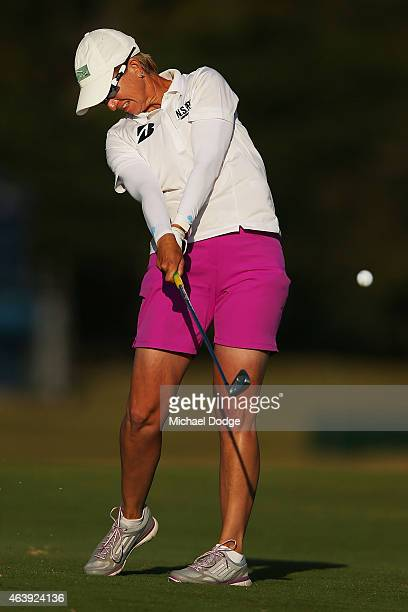 Karrie Webb of Australia hits an approach shot on the 18th hole during day two of the LPGA Australian Open at Royal Melbourne Golf Course on February...