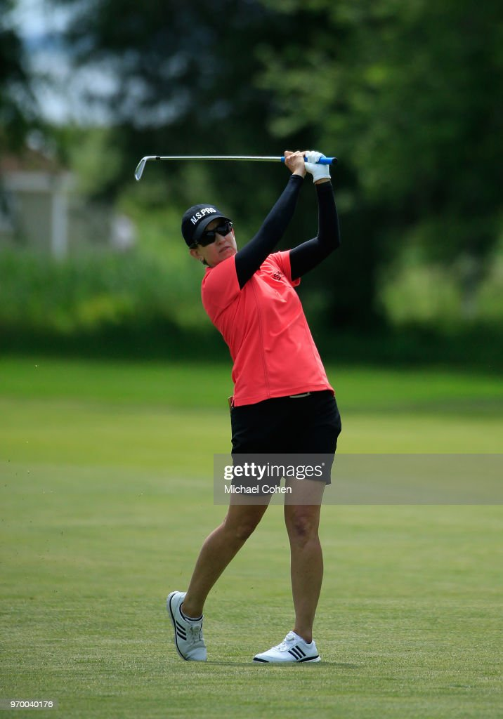 Karrie Webb of Australia hits her second shot on the 13th hole during the first round of the ShopRite LPGA Classic Presented by Acer on the Bay Course at Stockton Seaview Hotel and Golf Club on June 8, 2018 in Galloway, New Jersey.