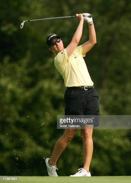Karrie Webb of Australia hits her second shot on the sixth hole during the third round of the HSBC Women's World Match Play Championship on July 8...
