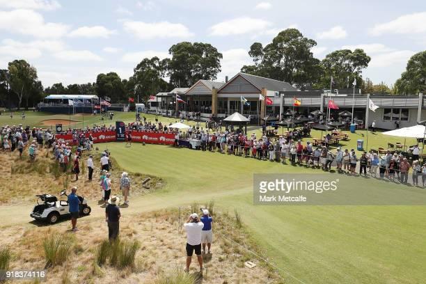 Karrie Webb of Australia hits her tee shot on the 1st hole during day one of the ISPS Handa Australian Women's Open at Kooyonga Golf Club on February...