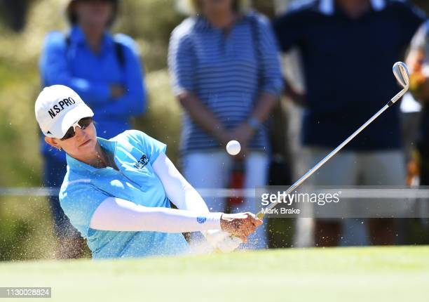 Karrie Webb of Australia hits out of a bunker on the 2nd during day three of the 2019 ISPS Handa Women's Australian Open at The Grange GC on February...