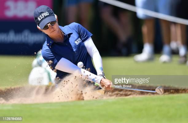 Karrie Webb of Australia hits out of a bunkrer during day two of the 2019 ISPS Handa Women's Australian Open The Grange GC on February 15 2019 in...