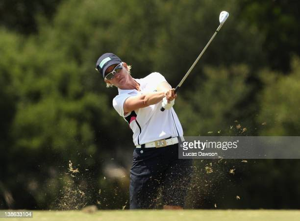 Karrie Webb of Australia plays a shot during day two of the 2012 Women's Australian Open at Royal Melbourne Golf Course on February 10 2012 in...