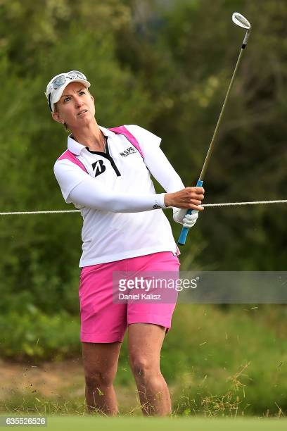 Karrie Webb of Australia plays a shot during round one of the ISPS Handa Women's Australian Open at Royal Adelaide Golf Club on February 16 2017 in...