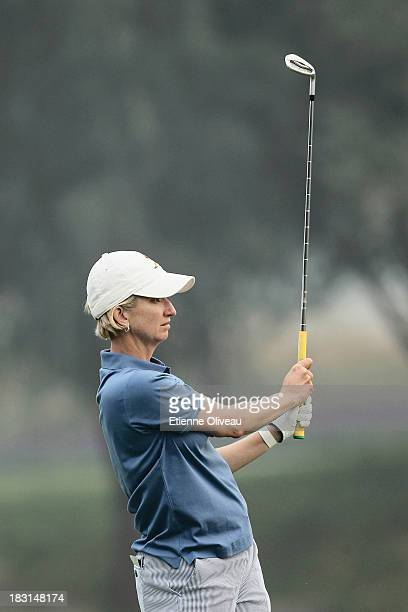 Karrie Webb of Australia plays a tee shot during the third round of the Reignwood LPGA Classic at Pine Valley Golf Club on October 5 2013 in Beijing...