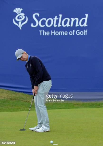 Karrie Webb of Australia putting at the 18th green during the final day of the Aberdeen Asset Management Ladies Scottish Open at Dundonald Links Golf...