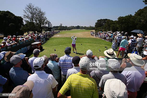 Karrie Webb of Australia tees off on the 1st hole during day two of the LPGA Australian Open at Royal Melbourne Golf Course on February 20 2015 in...