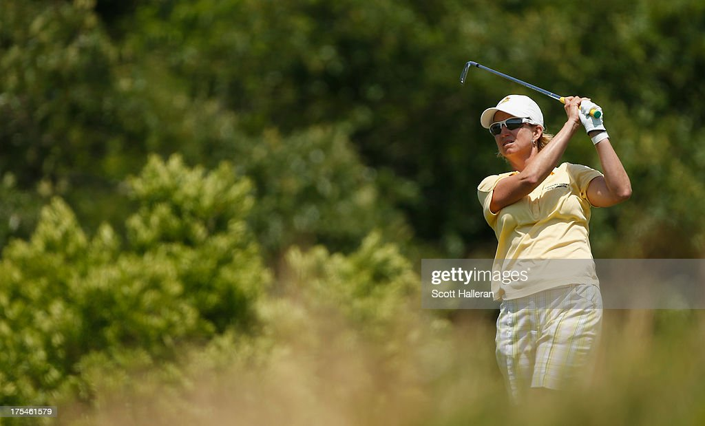 Karrie Webb watches a shot during the third round of the 2013 U.S. Women's Open at Sebonack Golf Club on June 29, 2013 in Southampton, New York.