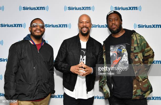 Karriem Riggins Common and Robert Glasper of hip hop/RB group August Greene visit SiriusXM Studios on May 11 2018 in New York City