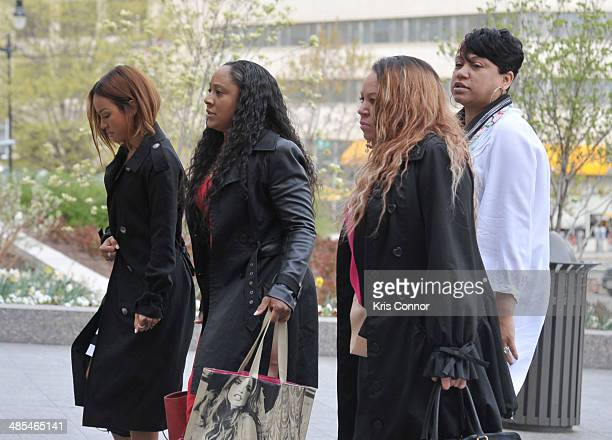 Karrueche and Joyce Hawkins arrive to court for Chris Brown's Assault trial on April 18 2014 in Washington DC
