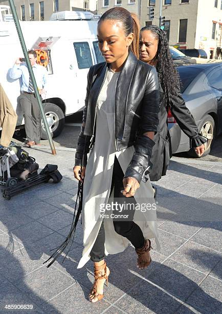 Karrueche arrives at the H Carl Moultrie 1 Courthouse for the start of the Chris Brown's assault trial on April 21 2014 in Washington DC Singer Chris...