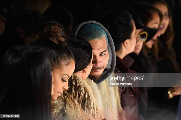 Karrueche Tran and Chris Brown attend the Michael Costello fashion show during Mercedes-Benz Fashion Week Fall 2015 at The Salon at Lincoln Center on...