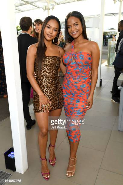 Karrueche Tran and Christina Milian attend the Warner Media Entertainment TCA Party on July 24 2019 in Beverly Hills California