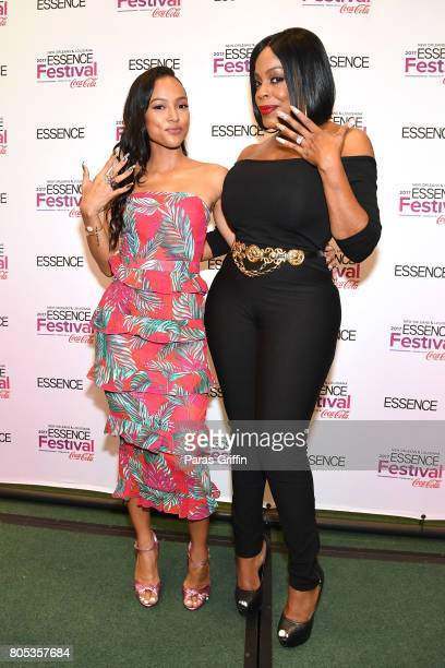 Karrueche Tran and Niecy Nash pose in the press room at the 2017 ESSENCE Festival presented by CocaCola at Ernest N Morial Convention Center on July...
