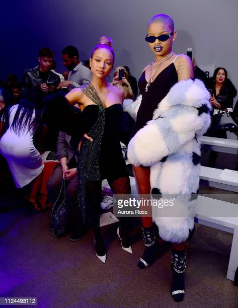 Karrueche Tran and Slick Woods attend the Christian Cowan Runway Show at Spring Studios on February 12, 2019 in New York City.