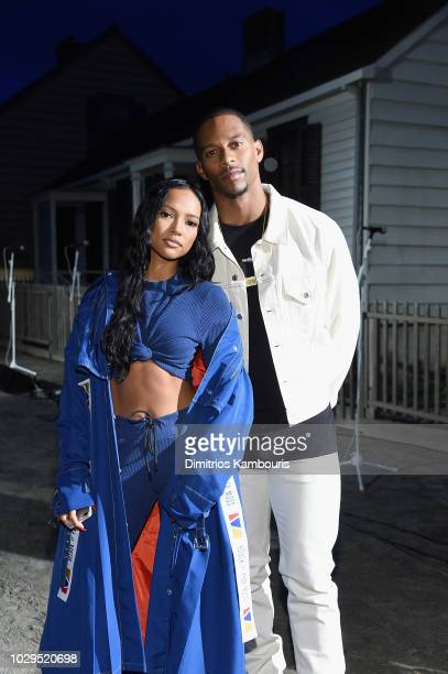 Karrueche Tran and Victor Cruz attend the front row for Pyer Moss on September 8 2018 in New York City