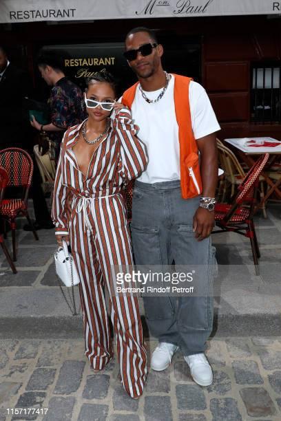 Karrueche Tran and Victor Cruz attend the Louis Vuitton Menswear Spring Summer 2020 show as part of Paris Fashion Week on June 20, 2019 in Paris,...