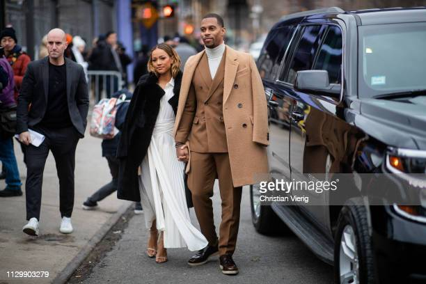 Karrueche Tran and Victor Cruz is seen outside Boss during New York Fashion Week Autumn Winter 2019 on February 13 2019 in New York City