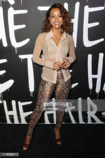 Karrueche Tran arives at Phil On Hair Presents The Hair-Tique at Goya Studios on September 21, 2019 in Los Angeles, California.