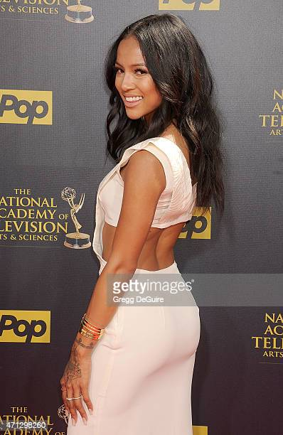 Karrueche Tran arrives at the 42nd Annual Daytime Emmy Awards at Warner Bros Studios on April 26 2015 in Burbank California