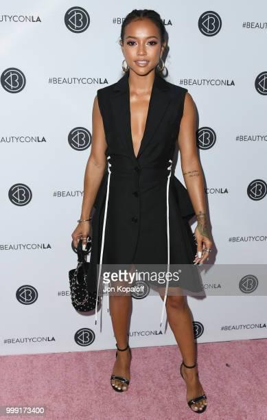 Karrueche Tran attends Beautycon Festival LA 2018 at Los Angeles Convention Center on July 14 2018 in Los Angeles California