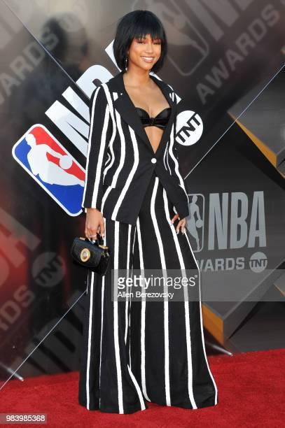Karrueche Tran attends the 2018 NBA Awards Show at Barker Hangar on June 25 2018 in Santa Monica California