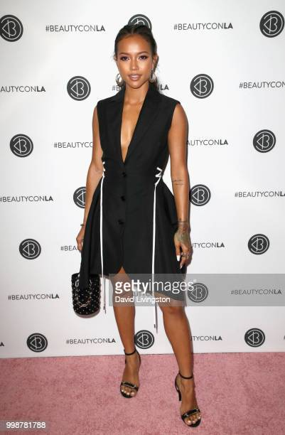 Karrueche Tran attends the Beautycon Festival LA 2018 at the Los Angeles Convention Center on July 14 2018 in Los Angeles California