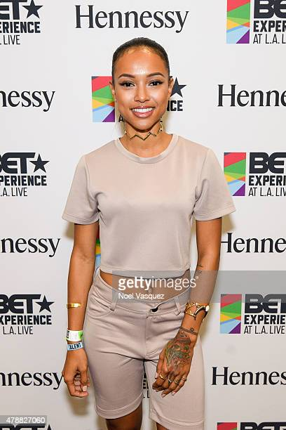 Karrueche Tran attends the official BET Experience gifting suite sponsored by Hennessy at Los Angeles Convention Center on June 27 2015 in Los...