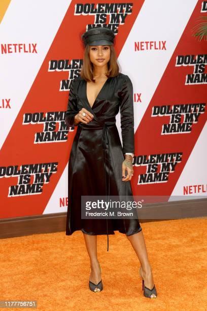 "Karrueche Tran attends the LA premiere of Netflix's ""Dolemite Is My Name"" at Regency Village Theatre on September 28, 2019 in Westwood, California."