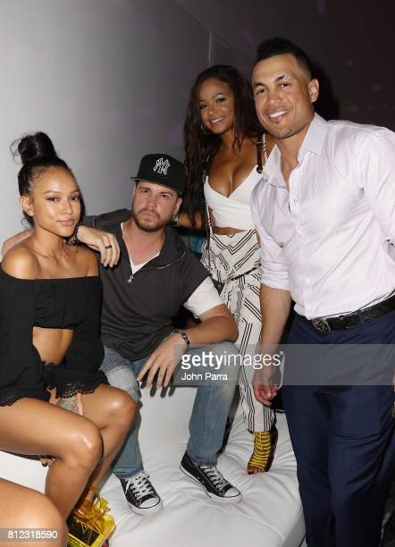 Karrueche Tran Dave Osokow Christina Milian and Giancarlo Stanton attend the TMobile Presents Derby After Dark at Faena Forum on July 10 2017 in...