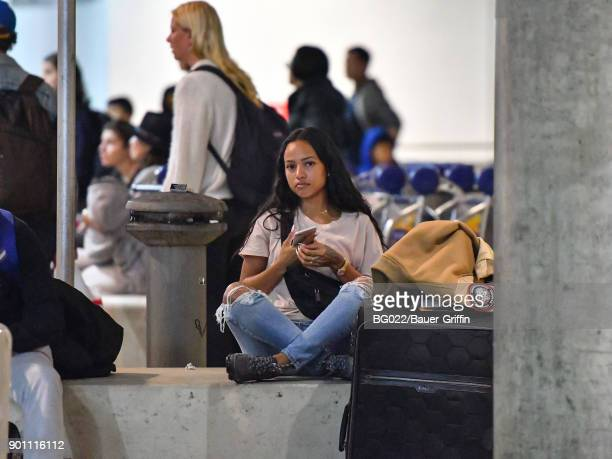 Karrueche Tran is seen at Los Angeles International Airport on January 03 2018 in Los Angeles California