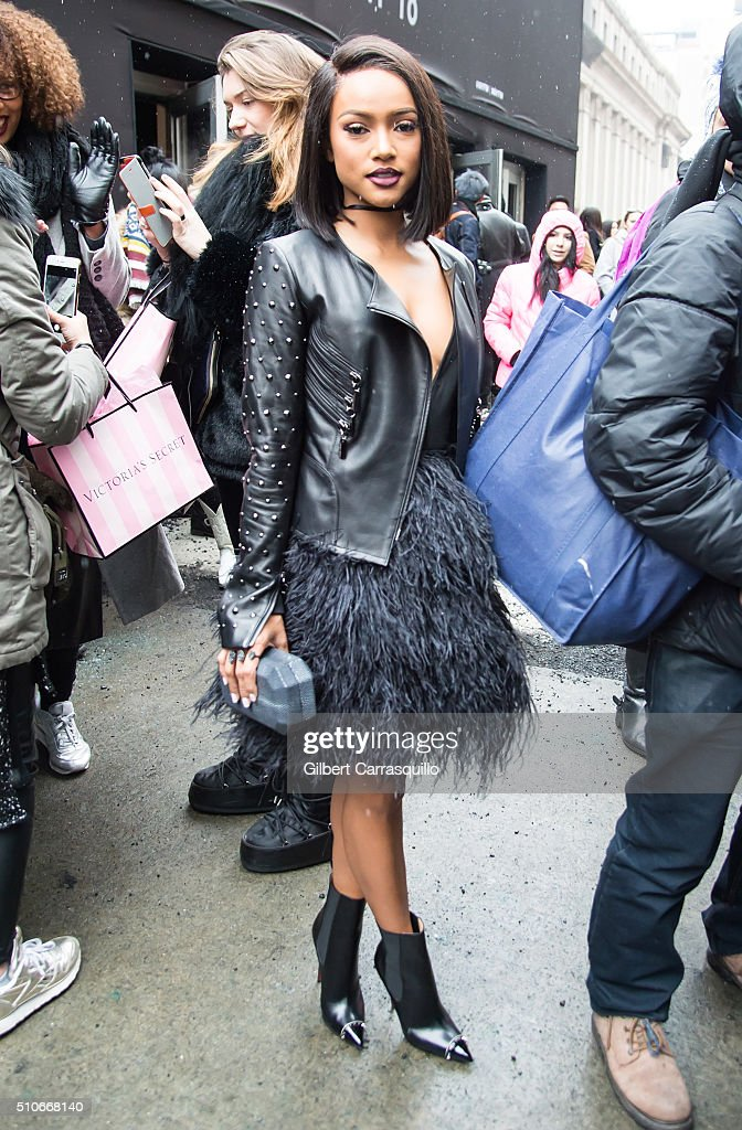 Karrueche Tran is seen outside the Thomas Wylde Fall 2016 fashion show during New York Fashion Week: The Shows at The Dock, Skylight at Moynihan Station on February 15, 2016 in New York City.