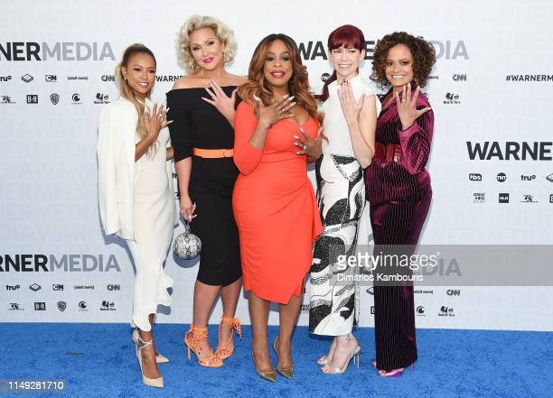 Karrueche Tran Jenn Lyon Niecy Nash Carrie Preston and Judy Reyes of TNT's Claws attend the WarnerMedia Upfront 2019 arrivals on the red carpet at...