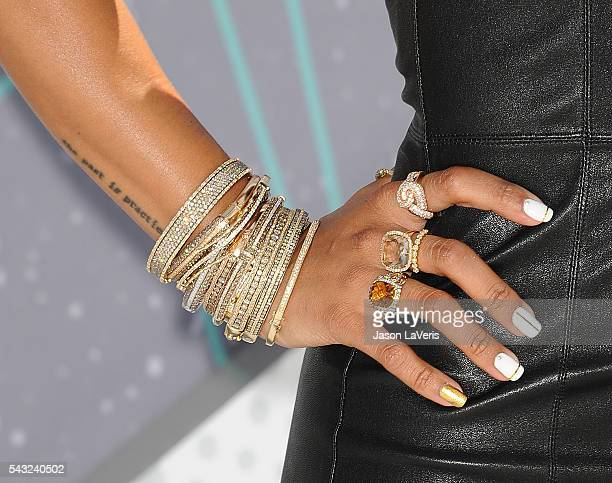 Karrueche Tran jewelry and nail detail attends the 2016 BET Awards at Microsoft Theater on June 26 2016 in Los Angeles California