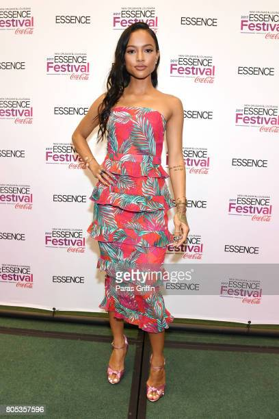 Karrueche Tran poses in the press room at the 2017 ESSENCE Festival presented by CocaCola at Ernest N Morial Convention Center on July 1 2017 in New...